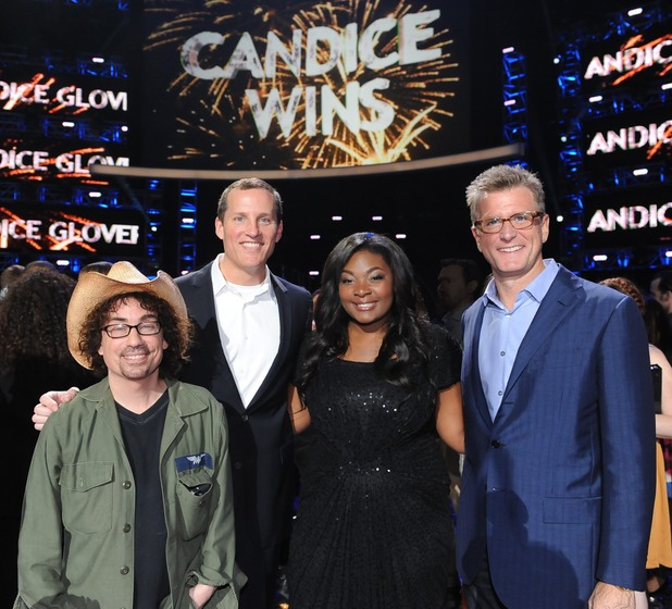Candice celebrates victory with Fox executives