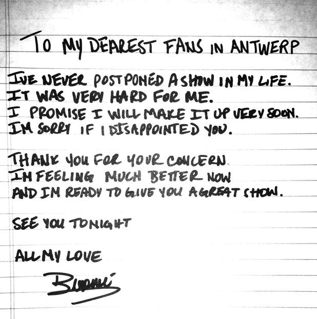 Beyoncé pens apology to fans on Facebook.