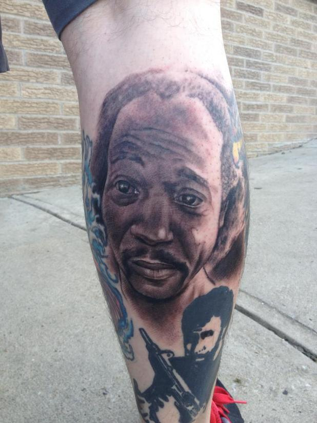 Charles Ramsey tattoo on leg