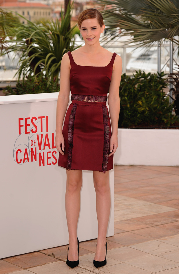 Emma Watson in a wine red dress
