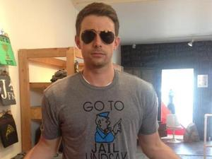 Mean Girls star Jonathan Bennett wears a Lindsay Lohan T-shirt
