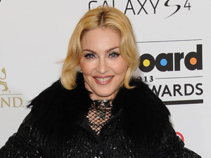 Madonna, suspenders, fishnets, 2013 Billboard Awards