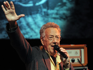 Ray Manzareks of the band The Doors speaks at a tribute to the band Motley Crue to launch the 4th Annual Sunset Strip Music Festival in West Hollywood, Calif., Thursday, Aug. 18, 2011.
