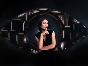 The 'Big Brother: Secrets & Lies' eye with host Emma Willis