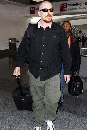Christian Bale, shaved head, new look, ginger beard