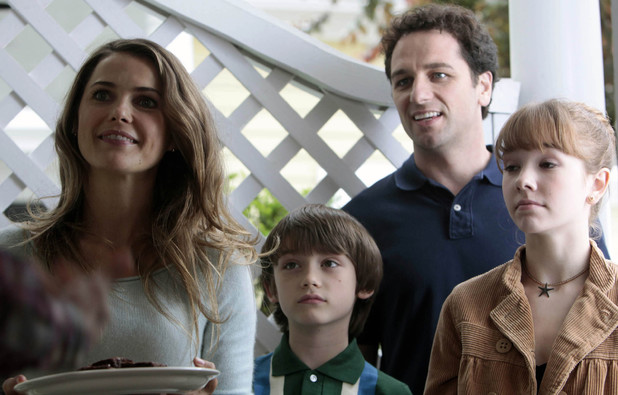 Keri Russell as Elizabeth Jennings, Keidrich Sellati as Henry Jennings, Mathew Rhys as Philip Jennings and Holly Taylor as Paige Jennings in 'The Americans'