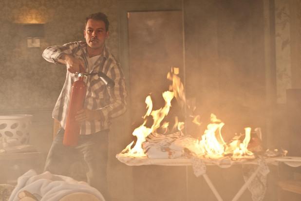Darren puts out the fire