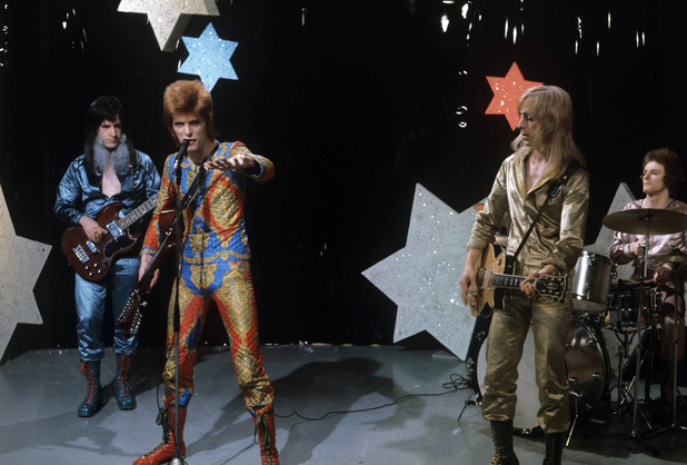 Trevor Bolder with David Bowie and Mick Ronson in 1972
