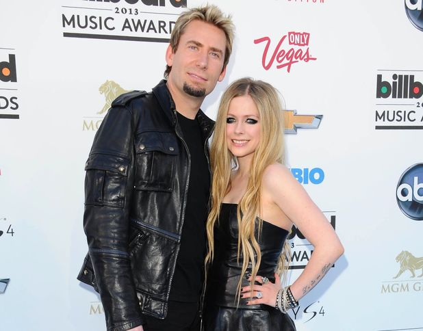 Avril Lavigne, Chad Kroeger, 2013 Billboards Las Vegas, matching leather outfits