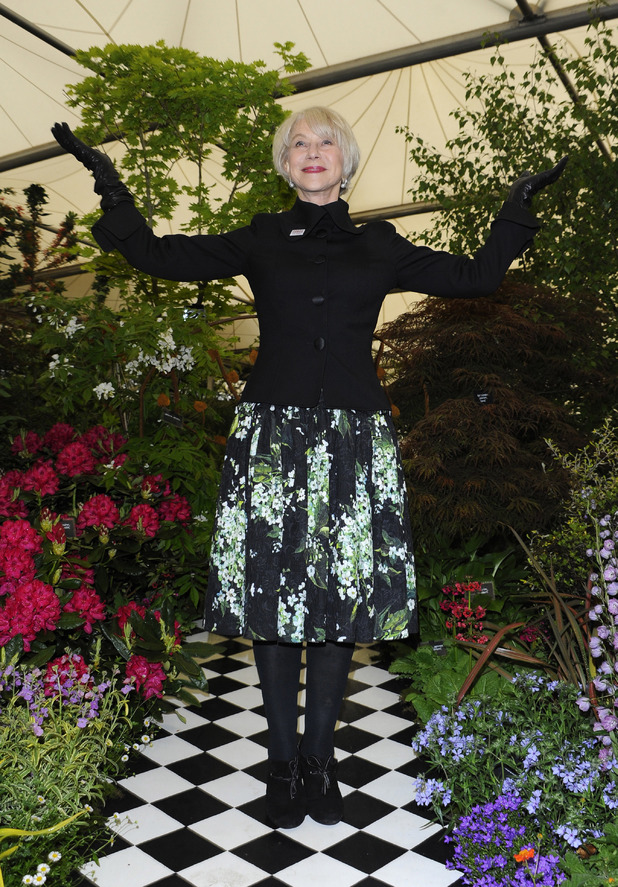 Helen Mirren, RHS Chelsea Flower show, Lily of the Valley Dolce & Gabbana dress