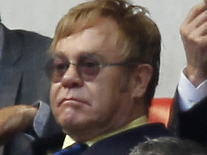Elton John & David Furnish watch the playoff between Crystal Palace and Watford at Wembley stadium