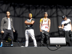 JLS performing at the Allstarz Summer Party, at the Madejski Stadium in Reading, Berkshire.