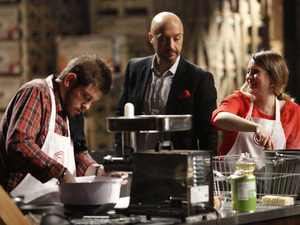 Masterchef's Joe Bastianich with contestants