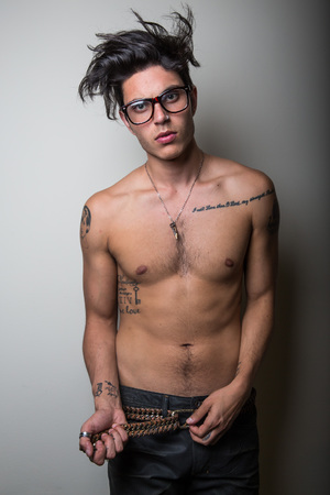Samuel Larsen, dreadlocks, shirtless, Glee, gay spy, Chelsea Lauren, haircut