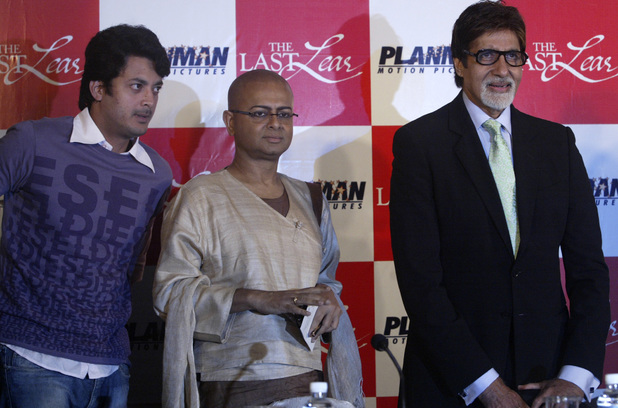 Bollywood actors Amitabh Bachchan, right, Jisshu Sengupta, left, and Director Rituparno Ghosh, center, look on during a press conference prior to the premiere of their film 'The Last Lear' in Calcutta, India, Friday, Sept. 12, 2008.