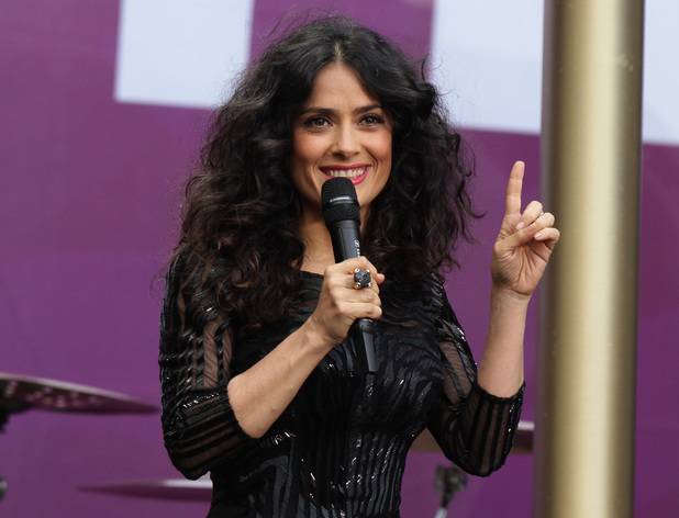 Salma Hayek  performs at the Chime for Change Live concert held at Twickenham Stadium, London.