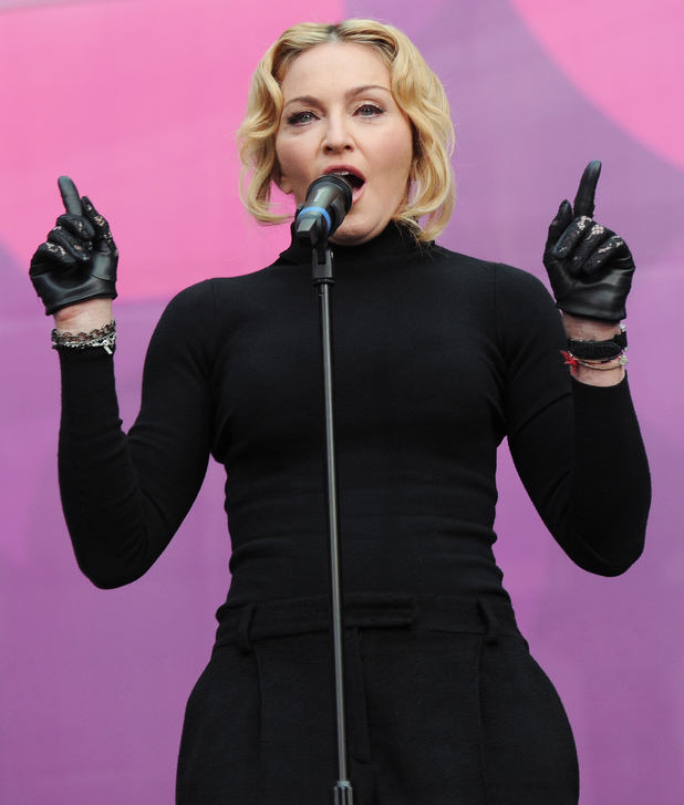 Madonna at the Chime for Change Live concert held at Twickenham Stadium, London.