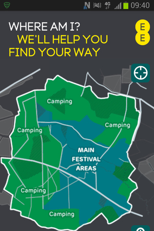 Glastonbury, EE mobile app screen shot