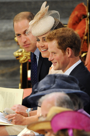 The Queen, 60th anniversary of the Coronation of Queen Elizabeth II at Westminster Abbey, The Duchess of Cambridge, Prince William, Prince Harry