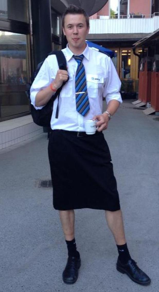 Martin Åkersten' wears a skirt to work.