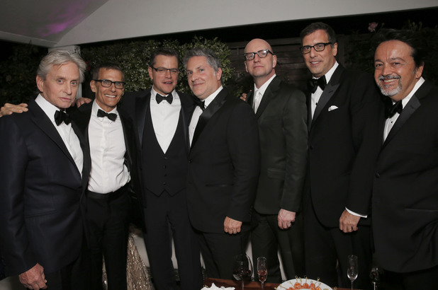 Michael Douglas, Michael Lombardo, Matt Damon, Scott Thorson, Steven Soderberg, Richard LaGravenese and Len Amato.