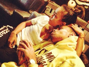 Chris Brown snuggles with Karrueche Tran
