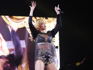 Rihanna in concert at the Millennium Stadium in Cardiff on the opening night of the UK leg of her 'Diamonds' tour