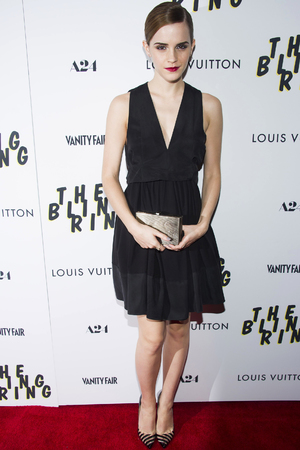 Emma Watson, bun, The Bling Ring premiere, New York, America, plunging black dress