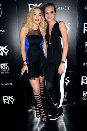 Cara Delevingne, Rita Ora, dance, DKNY Artwork Launch, The Fire Station, London