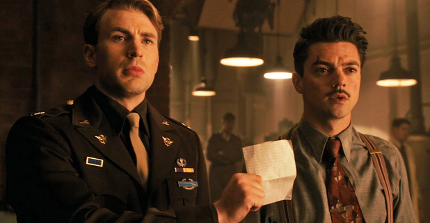 Chris Evans as Captain America and Dominic Cooper as Howard Stark