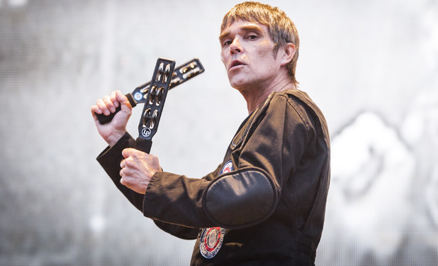 Ian Brown of the Stone Roses performs live on stage at Finsbury Park, London