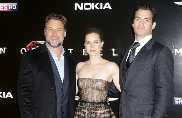 Russell Crowe, Amy Adams and Henry Cavill at the 'Man Of Steel' UK Premiere in London