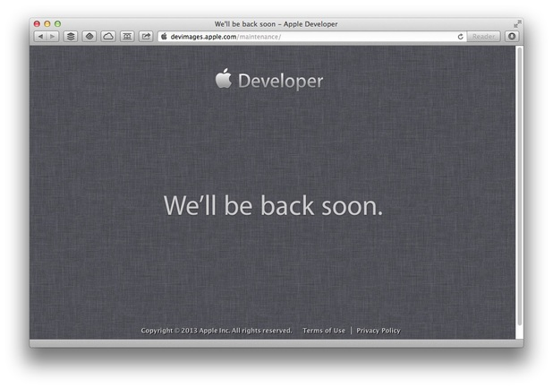 Screenshot of Apple's developer site on June 10