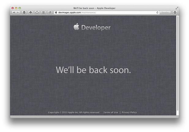 Screenshot of Apple's developer site on June 10