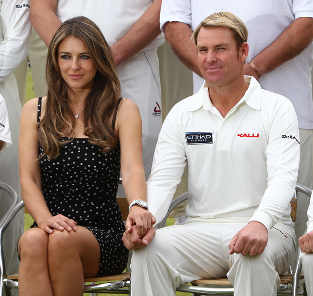 Liz Hurley, Shane Warne host a cricket match between an Australian 11 and an English 11 in aid of the Shane Warne Foundation and Hop Skip and Jump during Cricket for Kids Day at Cirencester Cricket Club