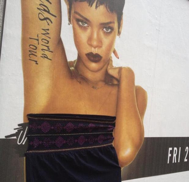 Rihanna gets covered up with clothes on a poster in Dublin