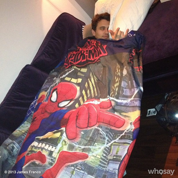 James Franco pretends to be Spider-man