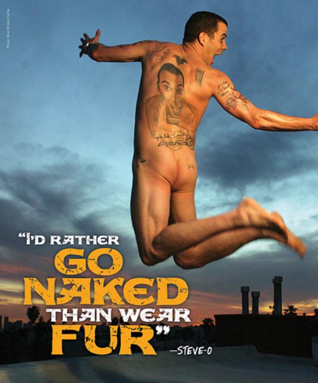 Steve-O's nude PETA campaign poster