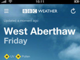 Screenshot of the BBC Weather app