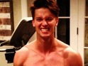 Patrick Schwarzenegger shares shirtless work out six-pack snap on Twitter.