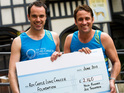 The soap actors hand over the sum after completing the London Marathon.