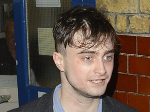 Daniel Radcliffe, Daniel Radcliffe leaving Noel Coward theatre after performing in 'The Cripple of Inishmaan'