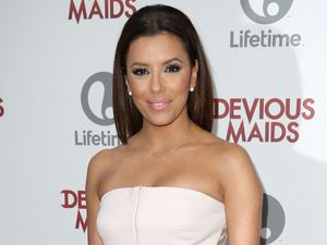 Eva Longoria, 'Devious Maids' TV Series premiere, Los Angeles, figure-hugging jumpsuit
