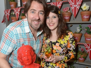 Jonathan Ross with a Queen's head jelly mould for Pimms