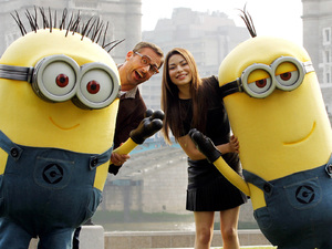 Steve Carell and Miranda Cosgrove at a photocall with the minion costume characters from Despicable Me 2 in central London. D Picture date: Wednesday June 19,