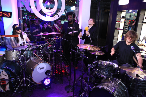 Andrew WK with Questlove of The Roots, Taylor Hanson and Zac Hanson - world record drumming attempt at the O Music Awards, June 20, 2013