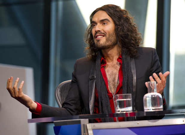Russell Brand during the filming of Question Time