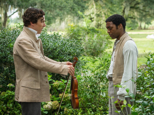 Solomon Northup (Chiwetel Ejiofor) and his first owner Baptist preacher William Ford (Benedict Cumberbatch) in '12 Years A Slave'