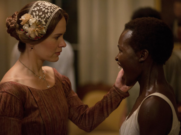 Sarah Paulson plays Mistress Epps, wife to Fassbender's Edwin Epps alongside Lupita Nyongo in '12 Years A Slave'