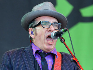 Elvis Costello performs on the Pyramid stage